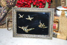 VICTORIAN CARD TRAY DONE IN WOOD BRASS HANDLES AND MOTHER OF PEARL BIRDS DECOR