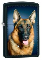 Zippo Lighter: German Shepherd Portrait - Black Matte 76983