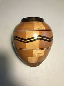 "Original Hand Made Wooden Vase by American Artist Anton Holzmann Signed 5"" Tall"