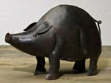 farmhouse country primitive antiqued metal Iron PIG figurine statue 6.5