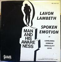 Lavon Lambeth - Man And His Awareness LP VG+ 1975 Private Chicago Poetry Rare