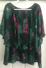 MADISON PAIGE II ABSTRACT GREEN BATWING BLOUSE TOP SHIRT SIZE 1X NWOT