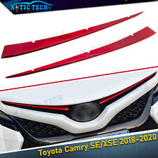 For Toyota Camry 2018 2019 Red Stainless Front Center Grill Grille Cover Trims (Fits: Toyota)