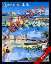 VINTAGE ANTIBES SOUTH OF FRANCE VACATION TRAVEL AD POSTER ART REAL CANVAS PRINT