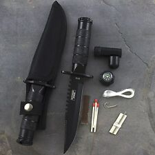 "8.5"" SURVIVAL TACTICAL HUNTING KNIFE w/ KIT SHEATH Compass Bowie Fixed Blade"