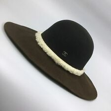 950b39e464 Auth Chanel CC LOGO Wide Brim Black Brown ORYLAG Floppy Fedora Trilby Hat  Size M