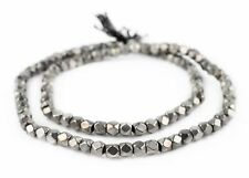 Dark Silver Faceted Diamond Cut Beads 6mm White Metal Large Hole 24 Inch Strand