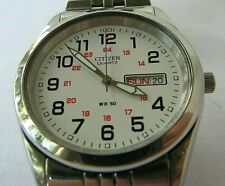 Citizen 2500 Quartz Day and Date Watch with Stainless Steel Bracelet