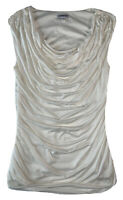 Express Women Tank Top Ivory Cowl Neck Ruched Double Lined Sleeveless Small S P