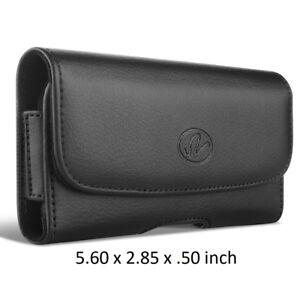 Black Horizontal Leather Case w/ Belt Loops & Belt Clip Holster 5.6 x 2.85 x .50