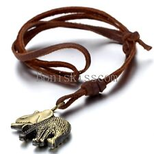 Leather Cord Men Retro Elephant Charm Pendant Surfer Necklace Choker Adjustable