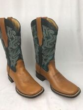 Durango Women's Brown Blue Leather Upper, Lining & Sole Western Cowgirl Boots 7M