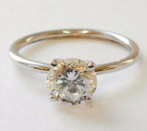 Engagement Ring Solitaire Ring 14 K.Gold With 6.5 mm Round Brilliant Cut Stone