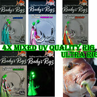 4x Fishing Rig Ultra Rigs Paternoster Rig High UV Reedys Jap made Hooks 5//0 6//0