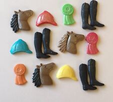 12 HORSE RIDING EDIBLE SUGARPASTE ICING BIRTHDAY BOYS GIRLS PARTY CAKE TOPPERS