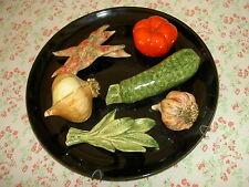 ASSIETTE barbotine VALLAURIS ou MONACO FRANCE Légumes trompe oeil  VINTAGE 1960