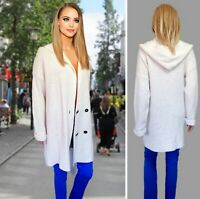 TU CARDIGAN SIZE L IVORY KNIT HOODED OVER KNEE DOUBLE BREASTED MIDI COAT #9