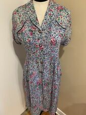 Vintage 40's-50's Blue And Red Floral Novelty Dress B/38 W/31