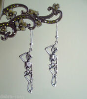 Gothic Hanging Skeleton Dangly Earrings - Pirate Punk Death