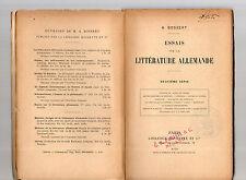 essais sur la litterature allemande deuxiemme serie - par a. bossert