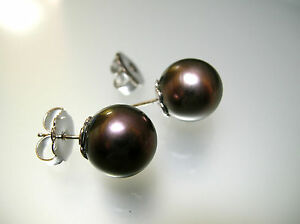 A pair real Tahitian south sea pearl round stud earrings 12.1 mm 14k white gold