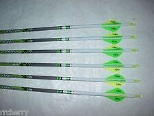 6 Gold Tip XT Hunter 400 5575 Carbon Arrows Custom White Dip Crest Blazer Vanes