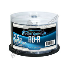 100 Optical Quantum 4x 25GB Blue Blu-ray BD-R Shiny Silver Blank Media Disc