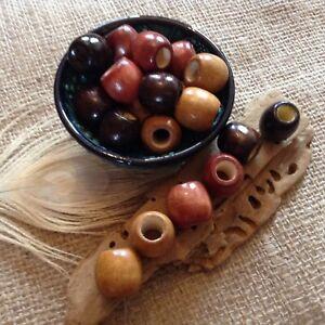 12 x Brown Mix Wood Dreadlock Beads 7mm Hole Macrame Boho Jewellery Making