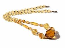 "21"" Vintage Czech Deco necklace Egyptian revival carved flower topaz glass beads"