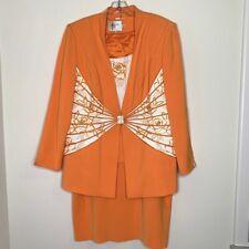 Vintage Louise Ricci 3pc Suit Beaded Crystal Clasp Orange