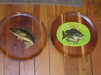 Vintage Lot of 2 Shabby Cabin Handpainted Walleye Pan Sun Fish Cedar Plate Wood