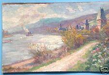Impressionismus Ölgemälde Oberwesel Dampfer Rhein Landschaft Sommer Signatur?~10