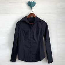 Club Monaco Small Navy Blue Button Down Structured Blouse Top Shirt Womens