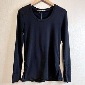 Athleta Women's M Long Sleeve Ruched Sides Shirt Lightweight Soft Black