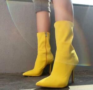 Women Stretch Sock Boots Pointed Toe High Heels Party Shoes Pumps Club Stilettos