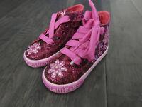 LelliKelly Jasmine purple glitter shoes new toddlers girls