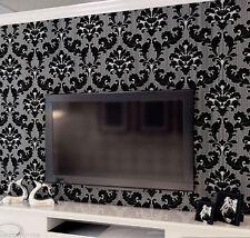 3D Black Velvet Flocking Romantic Feature Black Silver Damask Wallpaper 10m Roll