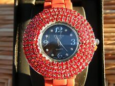 Figaro Couture Women's Watch Red Rubber Band Red Crystals Black Face NIB!
