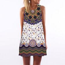 Vintage Boho Women Loose Summer Sleeveless 3D Floral Print Bohe Tank Mini Dress