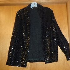 Woman's sz 11/12 - Black Sequin TOPPER - Unbranded JACKET - Dressy & SHARP - WOW