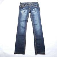 Antique Rivet Dark Blue Jeans Zipper Pocket Womens Size 28  31x33