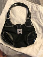 AUTH PRADA BLACK NYLON PATENT LEATHER SHOULDER BAG HAND BAG + DUST COVER