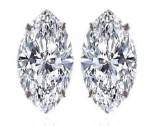 Diamond Solitaire Studs: 1ct Certified D IF VG Marquise Shape Diamonds, Platinum