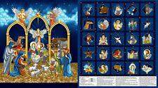 Silent Night Midnight Advent Calendar Religious Christmas Fabric Panel 23