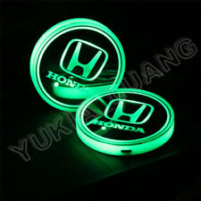 2pcs Car Cup Holder 7-Color Luminous Led Light Pad Anti-slip Mat For Honda