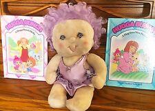 1985 Kenner Hugga Bunch Impkins Plush Doll Lavender Purple Hair And 2 Books