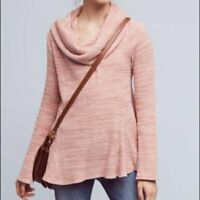 Postmark Anthropologie Maurisa Pink Cowl Neck Knit Pleated Sweater Size XS