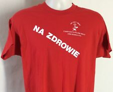 Vtg 80s Screen Stars Na Zdrowie Polish Meat T-Shirt Red L/XL Poland