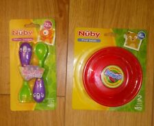 New Nuby Baby Feeding Bowls x2 and Monster Fork & Spoon Cutlery Set