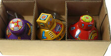 3x SPACE ROBOTS  with Mystery Action Wind-up Tinplate Tin Toys